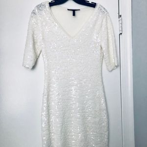 BCBG White Sequin Dress